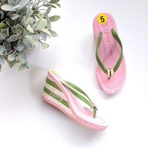 /Juicy Couture/ pink wedge flip-flops